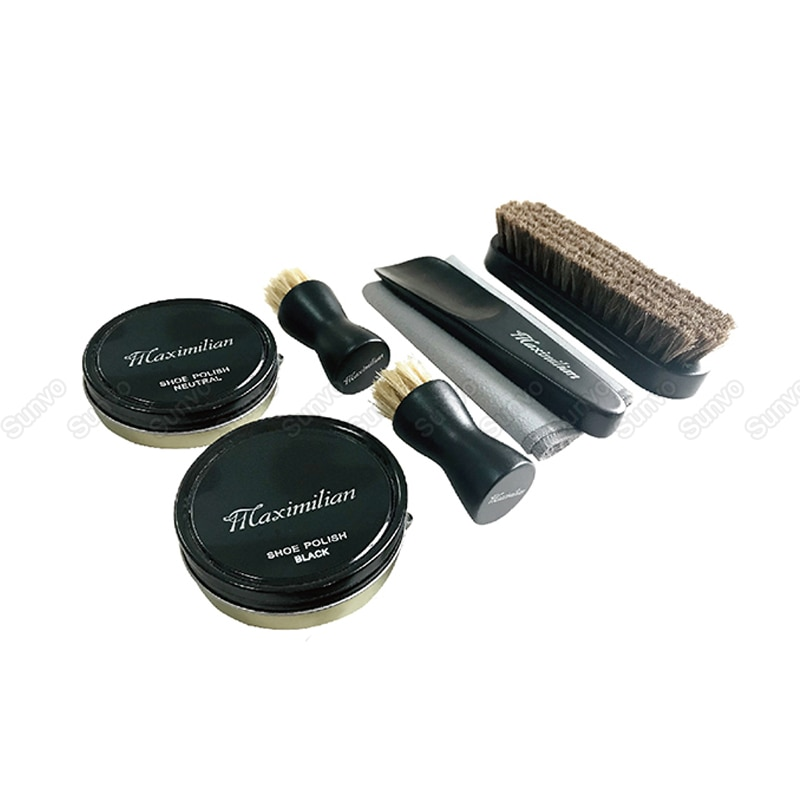 Professional Shoe Care Kit Portable For Boots Sneakers Cleaning Set Polish Brush Shoehorn Shine Polishing Tool For Leather Shoes