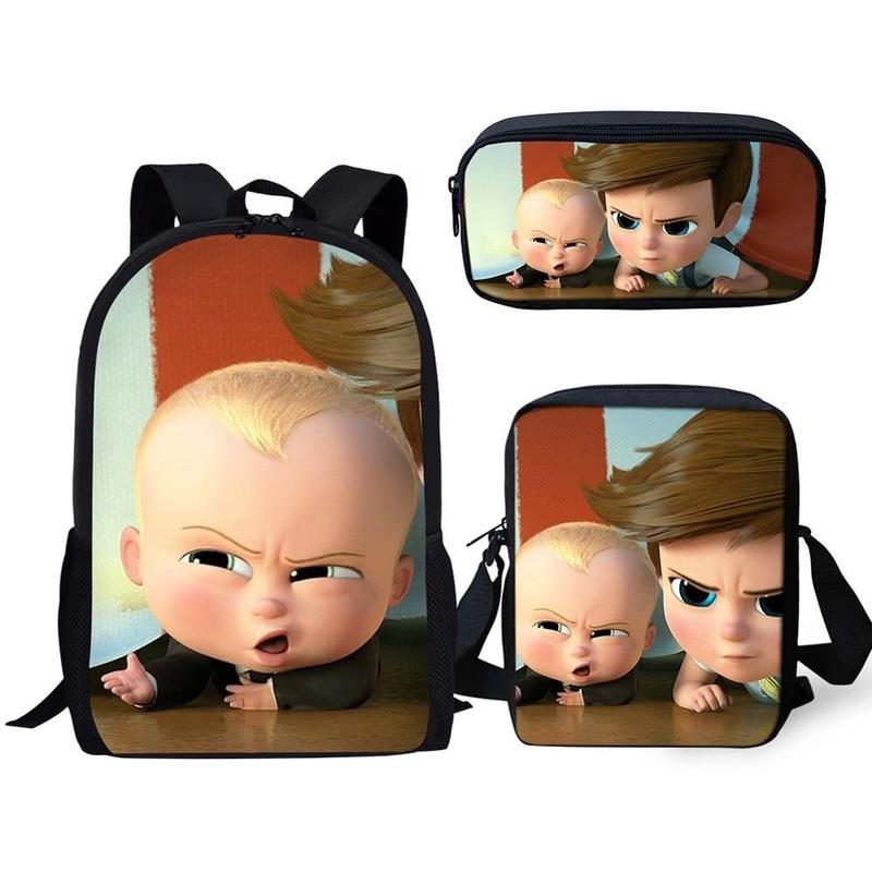 Mochila de moda para niños con patrón Boss Baby, mochilas escolares para niños con dibujos animados Annime 3 unid/set, mochilas para libros para estudiantes, Mochila