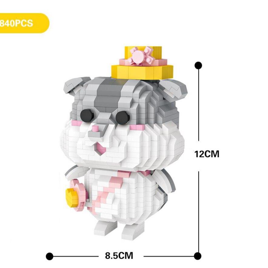 Divertido calsic dibujos animados animal imagen micro diamante bloque de construcción hámster nanoladrillo educación juguetes bloques de montaje para regalos