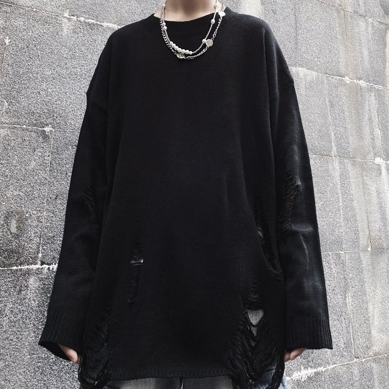 Ins High Street Dark Ripped Sweater Long-Sleeved Top 2021 Autumn New Loose Pullover Men and Women Fa