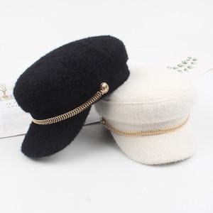 Adjustable Beret Female Autumn and Winter Fishbone Chain Navy Hat Female British Retro Octagonal Hat Tide Casual Hat Newsboy Hat