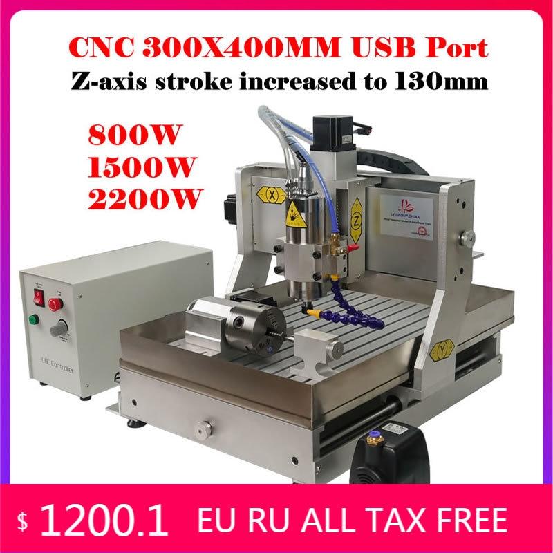 Roteador de Madeira Água de Refrigeração Mini Eixos Porta Usb 800w 1500w 2200 Eixo Alumínio Metal Carving Kit Máquina Cnc 3040 300x400mm 4