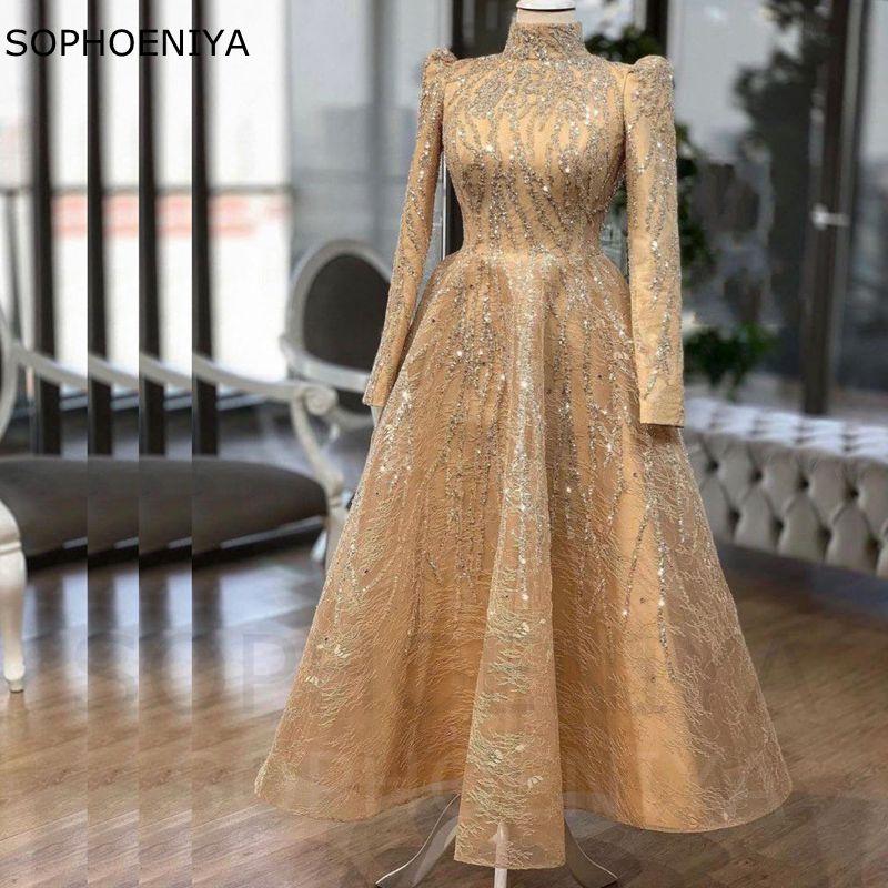 فستان سهرة نسائي من الدانتيل, فستان سهرة نسائي من الدانتيل بتصميم شمبانيا ذو أكمام طويلة من موضة 2021 ، مناسب للحفلات في دبي