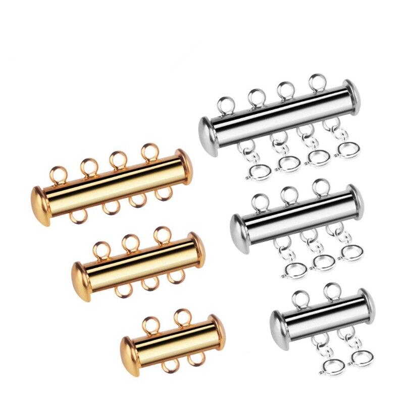 2 компл. Позолоченные латунные нити скользящие магнитные трубные соединители для ювелирных изделий прокладка застежка для DIY ожерелье браслет