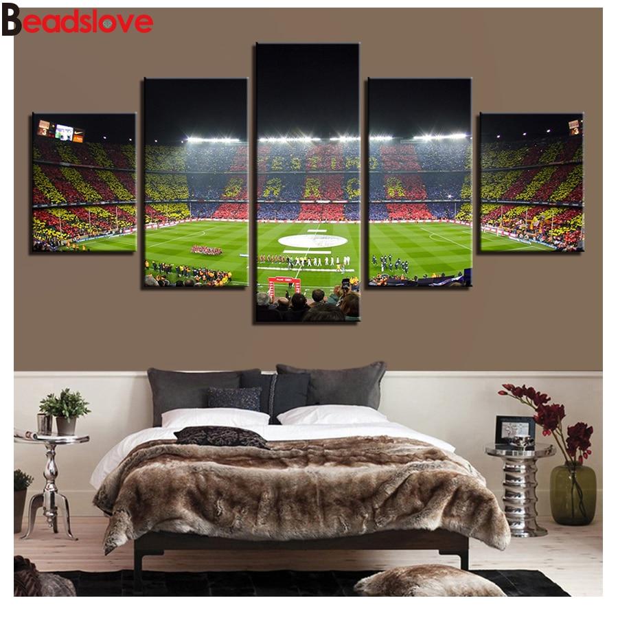 Taladro redondo cuadrado completo 5D DIY, pintura de diamante, gimnasio España Fc Barcelona, campo de fútbol Deportivo, bordado de punto de cruz