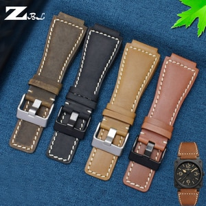 Genuine Leather Watchbands Men's wristband for Bell & Ross B&R BR-01 and BR-03 Strap High Quality Wrist Belt Bracelet + Tool