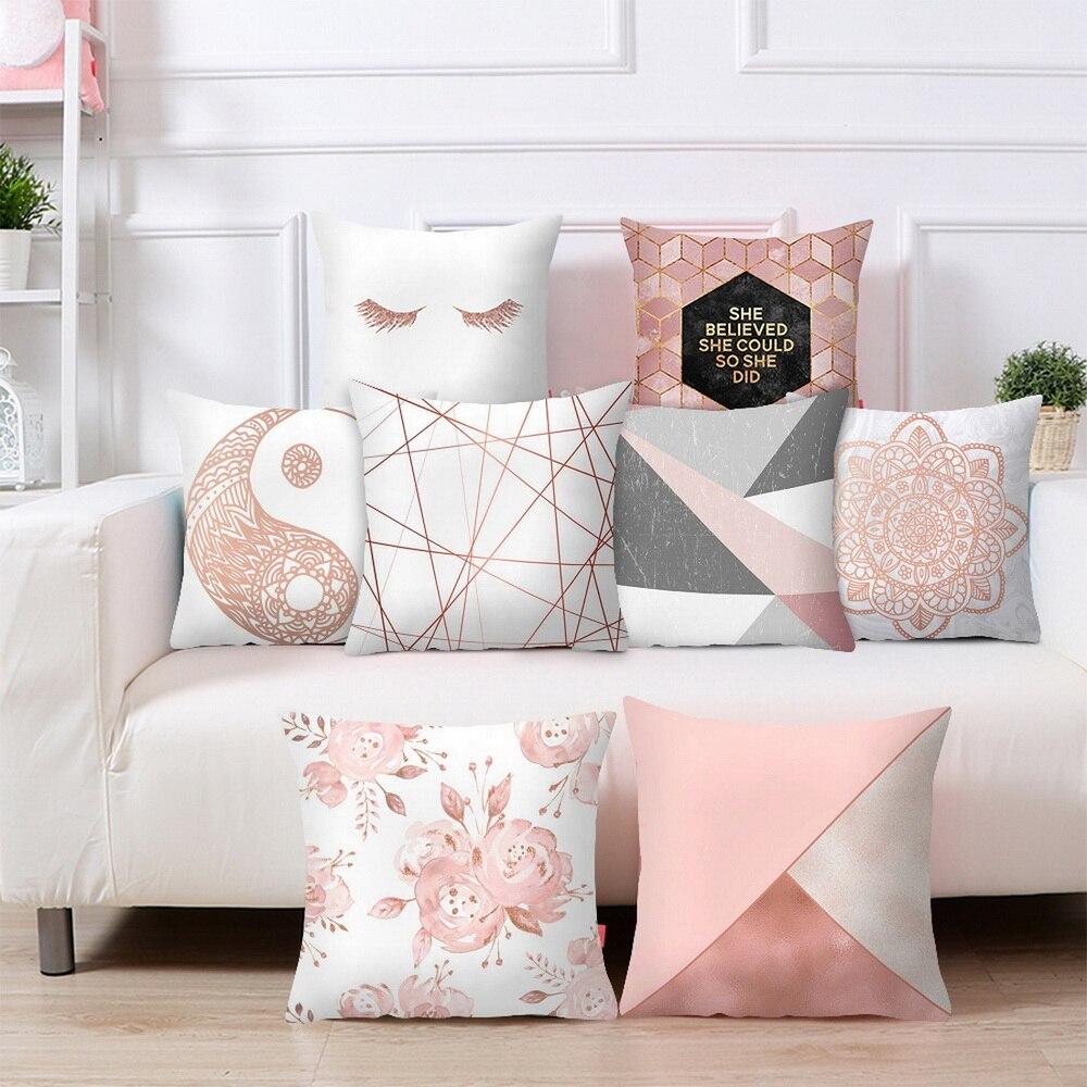 Квадратный чехол для подушки из розового золота, геометрический чехол для подушки Dreamlike, полиэстеровый чехол для подушки для домашнего декора 45x45cm