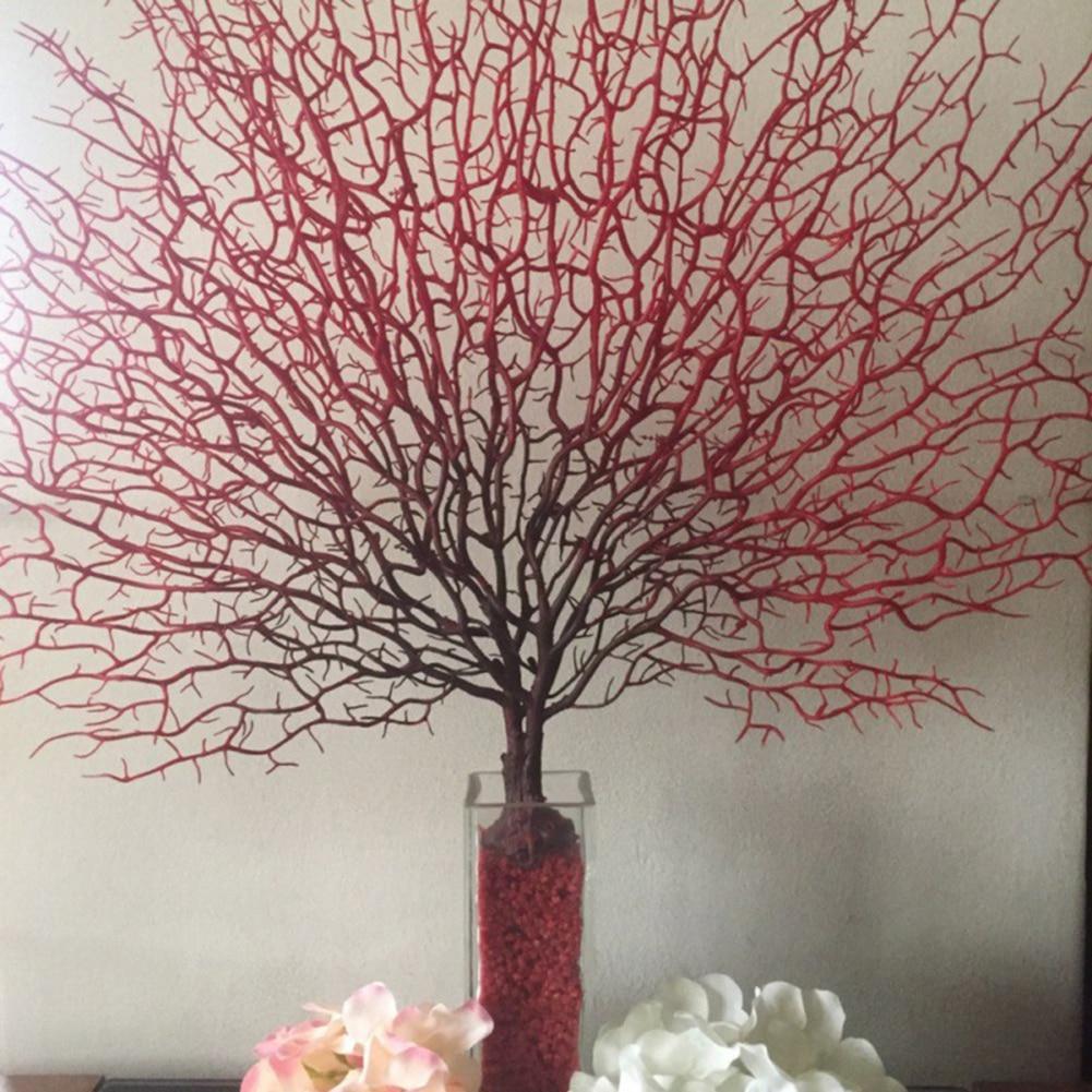 Künstliche Korallen Zweig Anlage Kunststoff Pfau Baum Meer Gefälschte Äste Getrocknete Pflanzen Tischset Hochzeit Simulation Decor 4 farbe