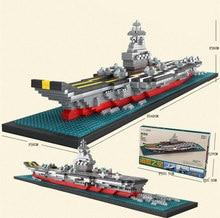 [Funny] DIY Assembly 1300pcs Diamond aircraft carrier 3D warship Boat model builing blocks Bricks education toy kids child gift
