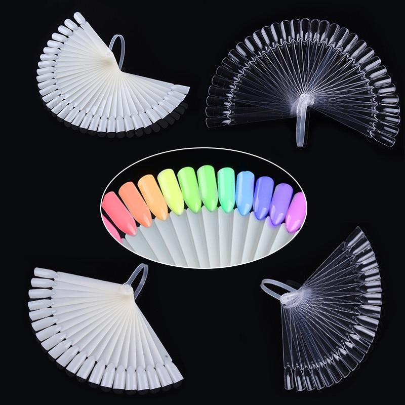 32Pcs Farbe Display Karte Falsche Nagel Tipps Fan Transparent Weiß Nail art Praxis Display-Tools Zubehör