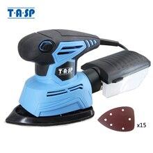 Tasp 130 w elétrica mouse lixadeira detalhe máquina de lixar ferramentas para madeira com caixa de coleta poeira & 15 lixa