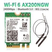 Double bande 802.11ax WIfi 6 pour Intel AX200 NGFF M.2 clé E carte sans fil AX200NGW MU-MIMO 2.4G/5Ghz 2400Mbps BT 5.0 avec antennes