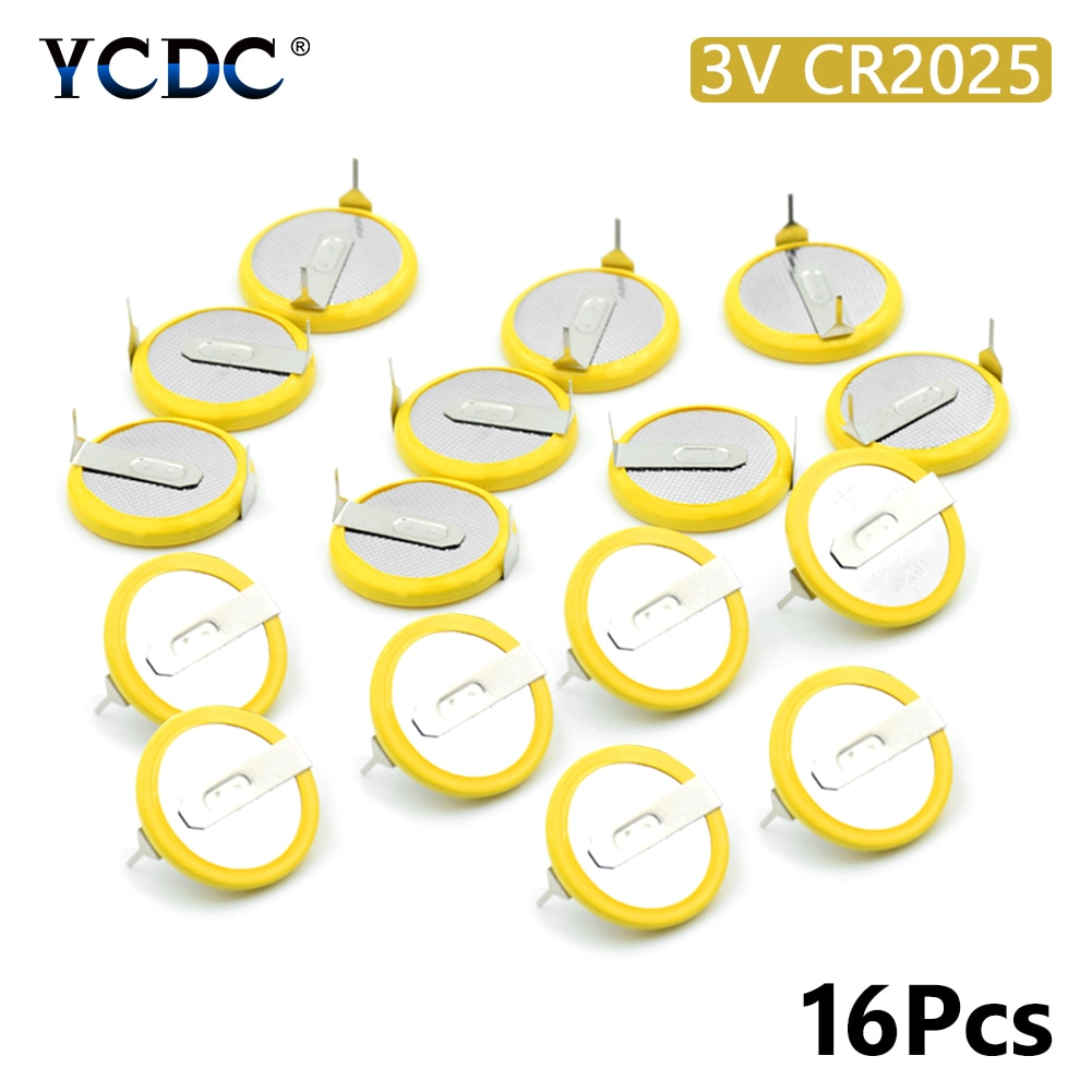 16Pcs/lot Battery CR2025 3V mounting pins/tabs single use 2 Tabs Coin Cell For Main Board Toy Electronic Scale
