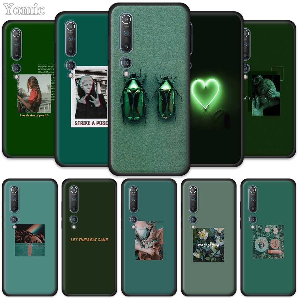 Funda de teléfono para Xiaomi Mi Note 9T 10 Poco F1 F2 CC9 CC9E A2 A1 8 Lite 9 SE Pro A3 negro, suave TPU, cubierta estética verde