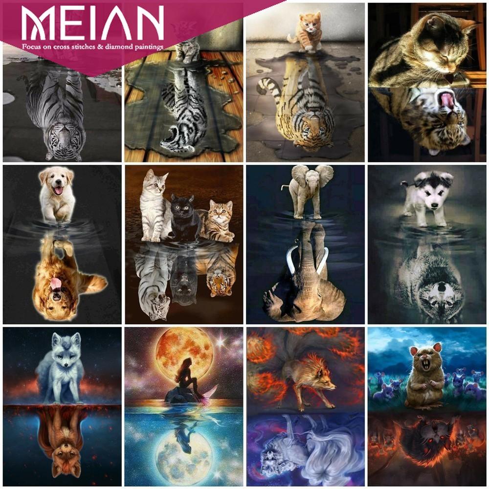 MEIAN בעלי החיים יהלומי ציור חתול יהלומי רקמת נמר 5D DIY יהלומי פסיפס פיל כלב מלא עגול כיכר בית תפאורה