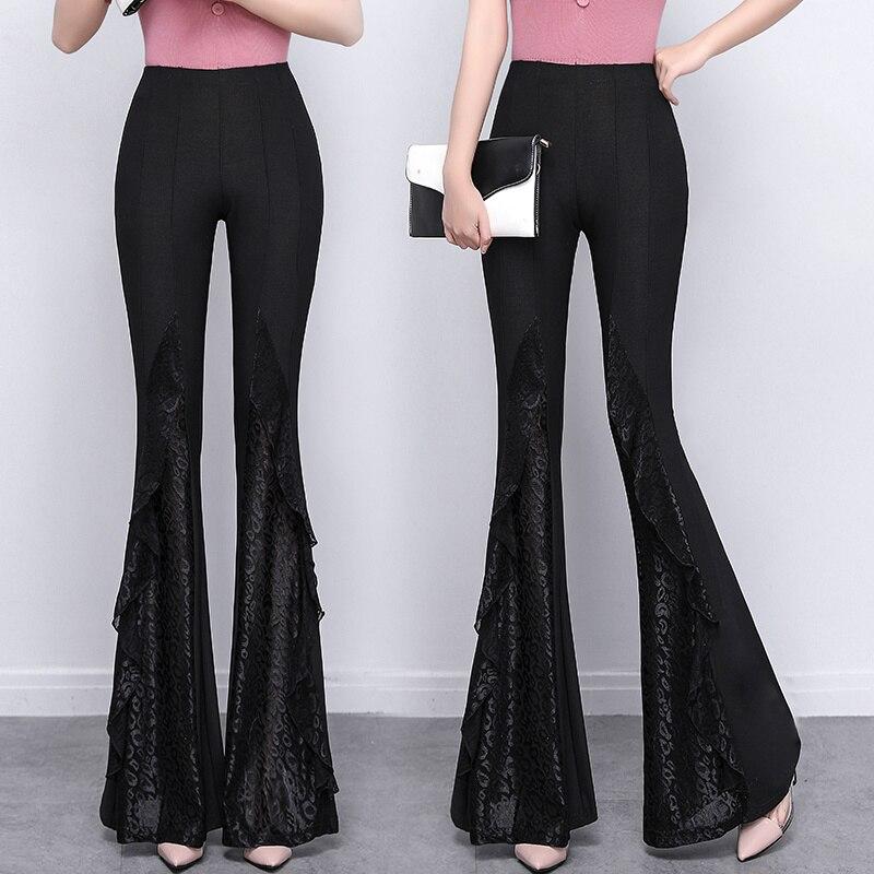 Женские брюки-клеш с завышенной талией, облегающие черные длинные кружевные брюки-клеш, новинка весны-лета 2021