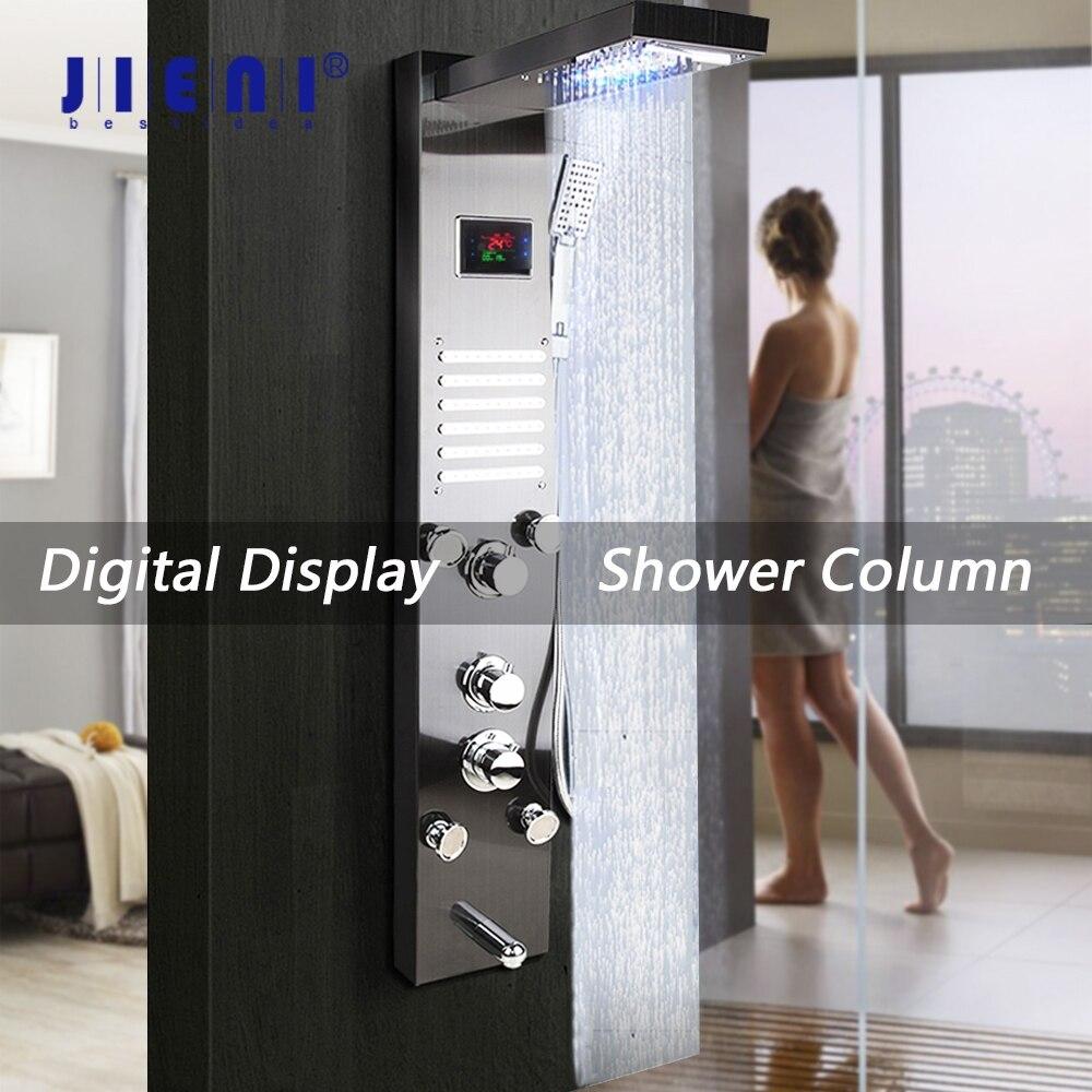 JIENI-عمود دش مع شاشة رقمية سوداء ، عمود نيكل ناعم ، نفاثات سبا للتدليك ، لوحة صنبور LED