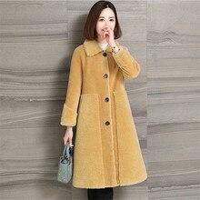 2019 nouveau hiver femme Faux mouton cisaillement veste de fourrure manteau femmes laine dagneau coréen simple boutonnage épais chaud Long pardessus Z08