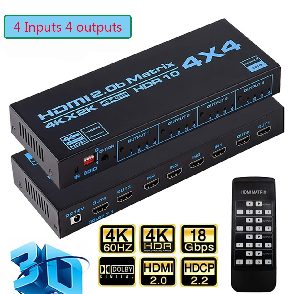 4x4 HDMI Matrix Switch HDCP 2.2, 4K HDR HDMI Matrix Switcher Splitter 4 In 4 Out Box with EDID Extractor and IR Remote Control