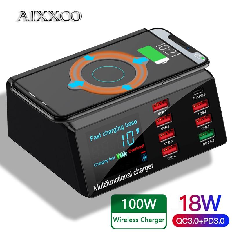 AIXXCO-محطة شحن سريع USB لأجهزة iPhone و Samsung و Huawei ، محطة شحن لاسلكية سريعة 100 وات مع قاعدة شحن 18W PD QC3.0 ، شاشة LED ذكية ، 8 منافذ USB لأجهزة Samsung و Huawei و iPhone