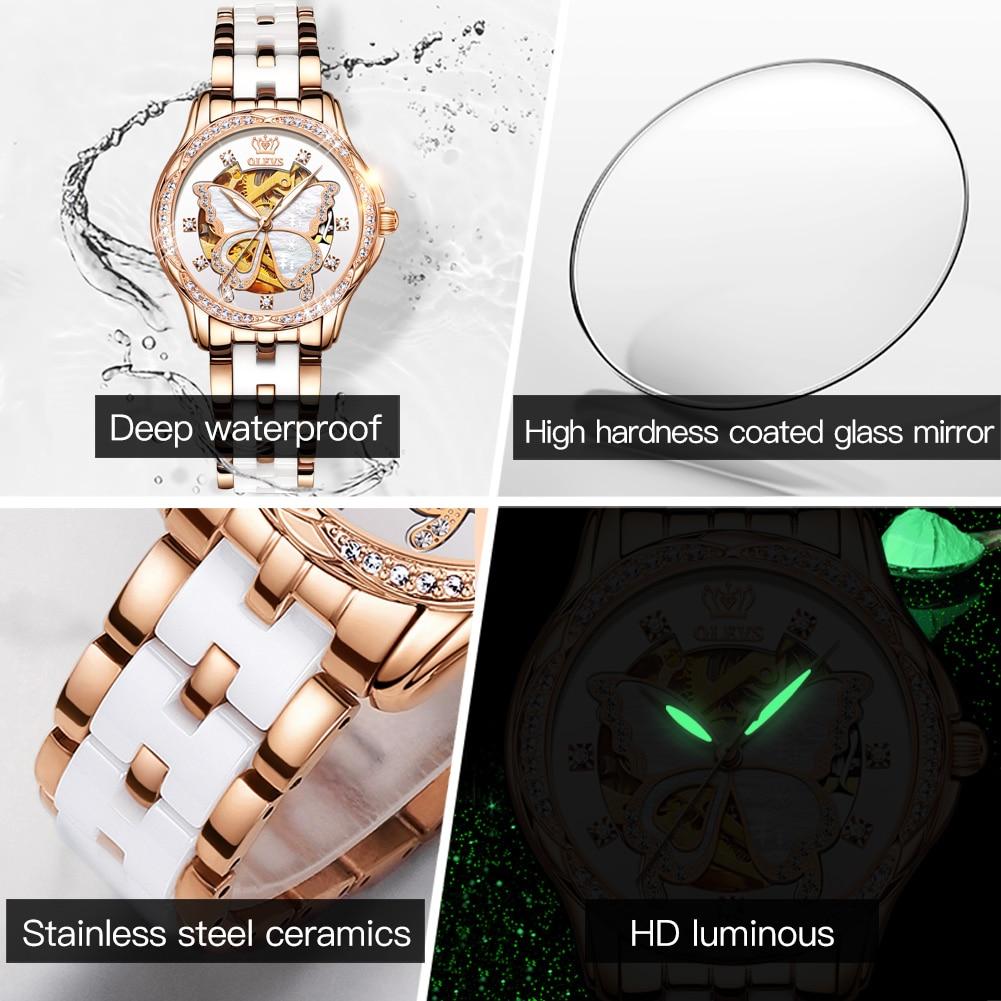 OLEVS Top Brand Mechanical Women Watch Fashion Switzerland Luxury Brand Ladies Wrist Watch Automatic Leather Strap Gift enlarge