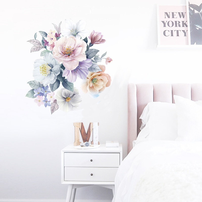 AliExpress - Romantic flowers Wall Sticker home wall decoration living room bedroom decor Literary water color wallpaper Removable stickers