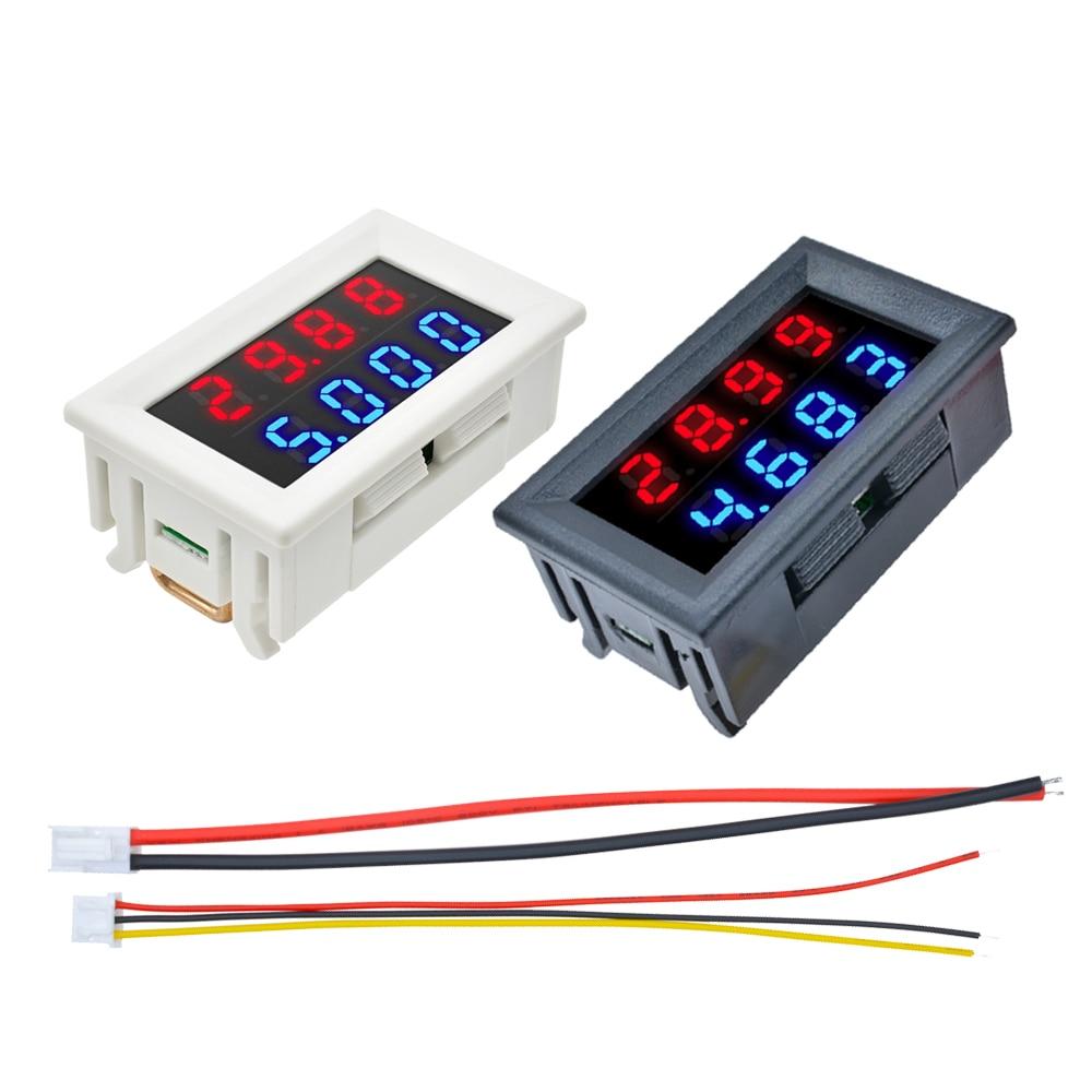 Dual LED Display Digital Voltmeter Ammeter DC 100V 200V 10A Voltage Current Meter Panel Amp Volt Tester Detector 4 Bits 5 Wires недорого