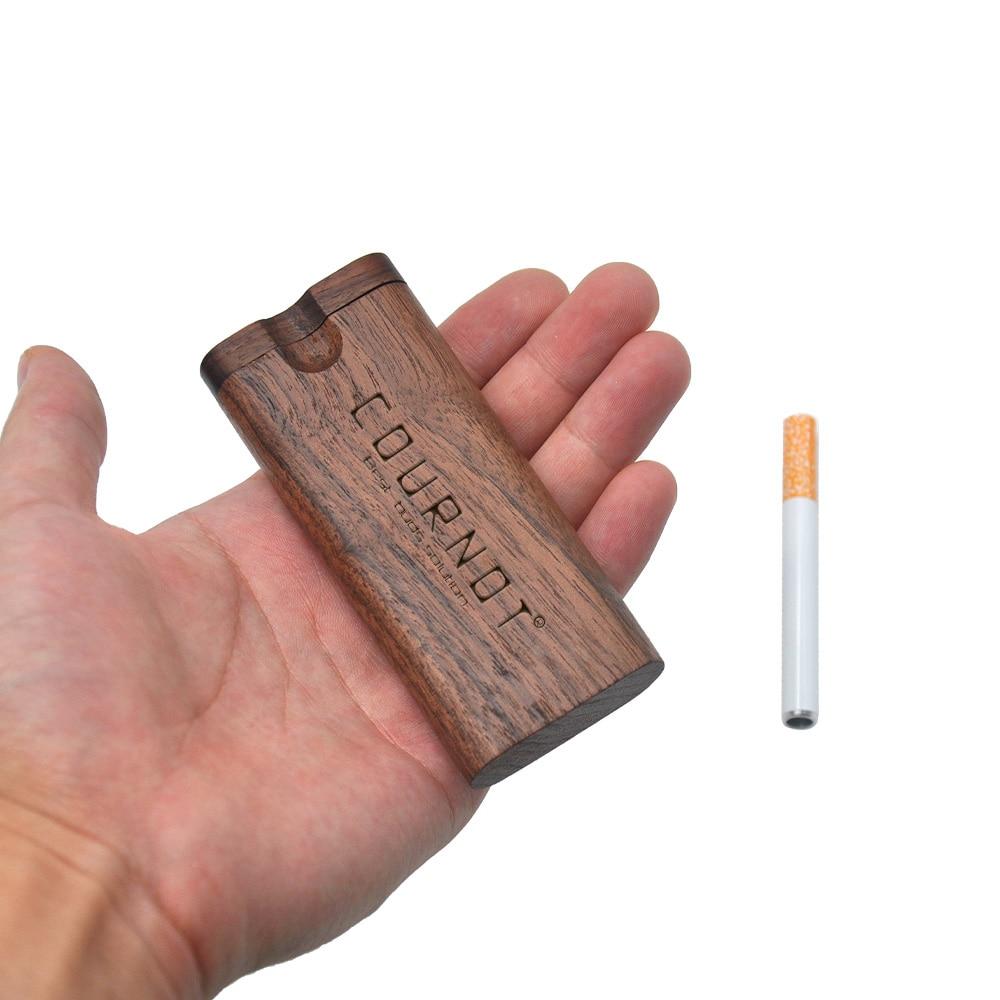 Cournot rosa madeira dugout digger um hitter tubo de madeira natural caixa de esconderijo com cerâmica um hitter fumar mão acessórios tubulação