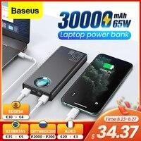 Baseus 65W внешний аккумулятор 30000mAh USB C PD Быстрая зарядка 30000 Powerbank портативное Внешнее зарядное устройство для ноутбука iPhone Xiaomi