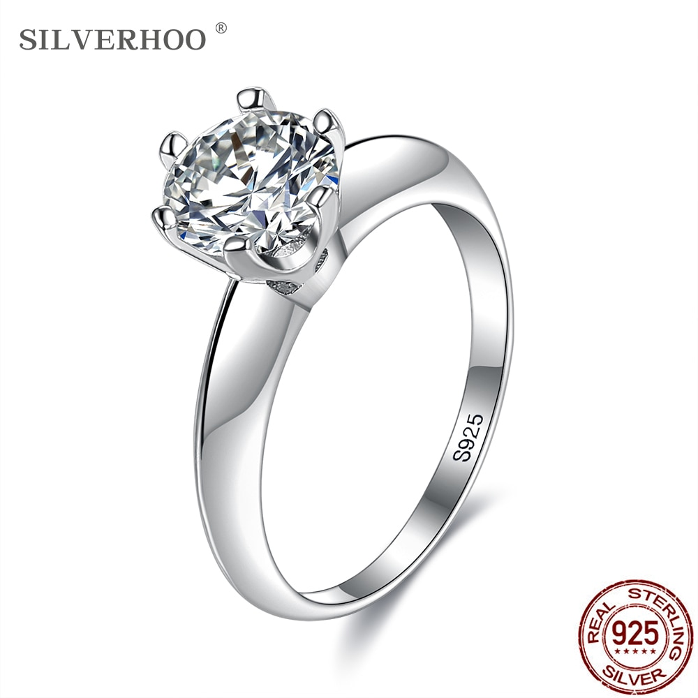 SILVERHOO Women Rings 925 Sterling Silver Shiny Geometry Round 5A+ Cubic Zirconia Wedding Engagement Ring Bride Luxury Jewelry