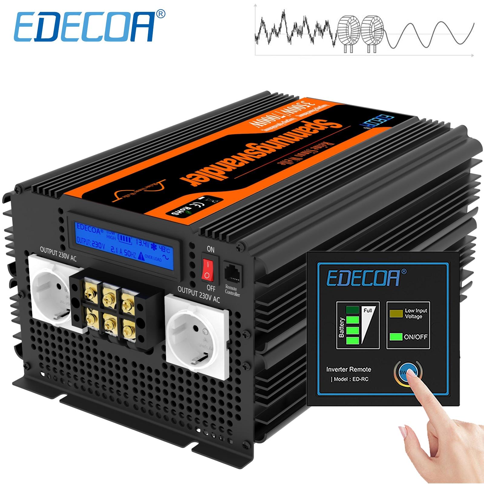 EDECOA 3500W 7000W Power Inverter DC 12V 24V AC 220V 230V 240V 100v 110v 120v Pure Sine Wave 60Hz Converter