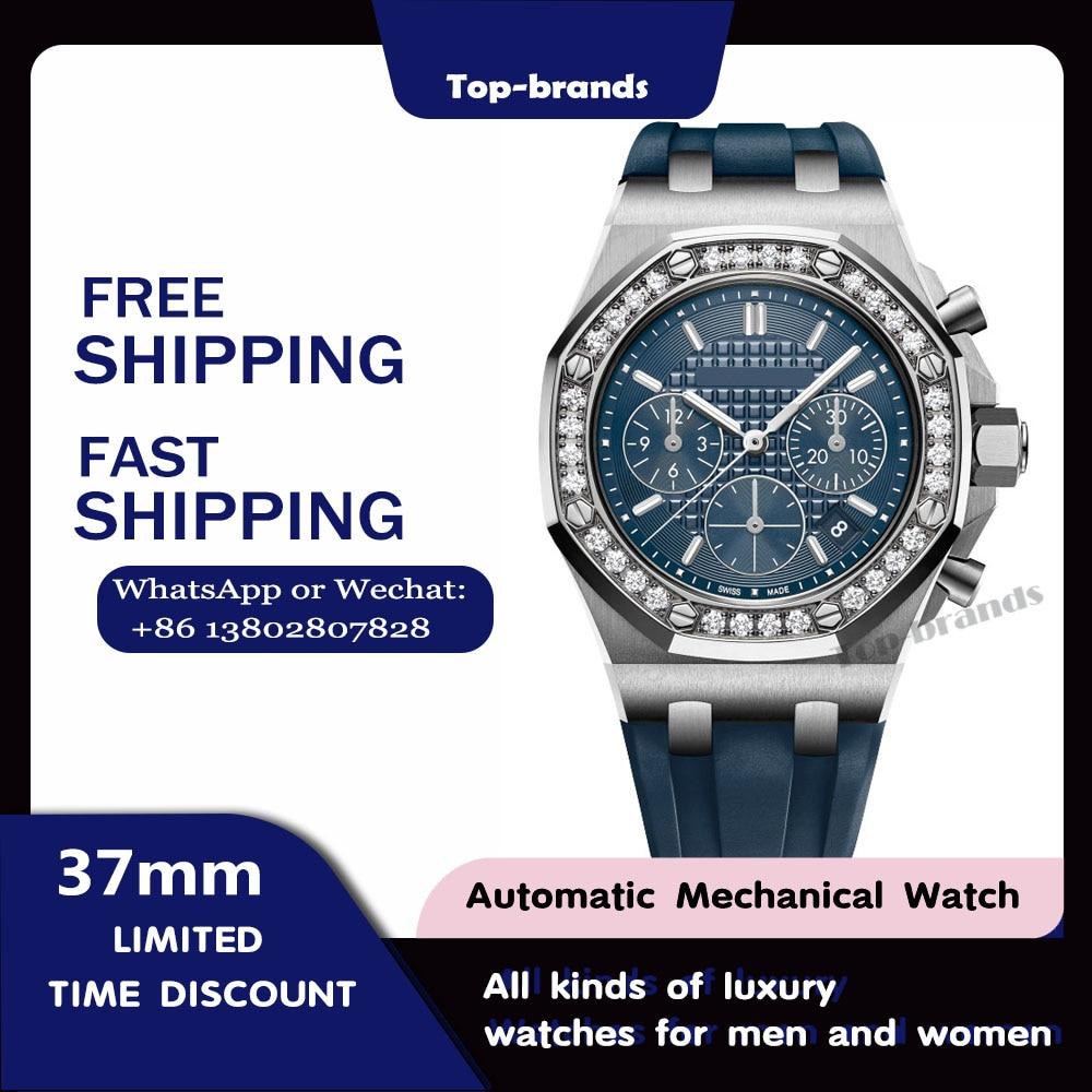 Royal oak offshore selfwinding chronograph luxury mechanical ladies watch rose gold sapphire  waterproof female automatic clock