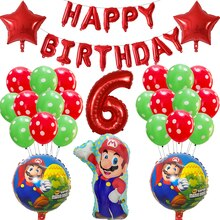 39 adet süper Mario balonlar 30 inç numarası balonlar oğlan kız doğum günü partisi dekor Mario Luigi Bros Mylar yeşil kırmızı balon seti