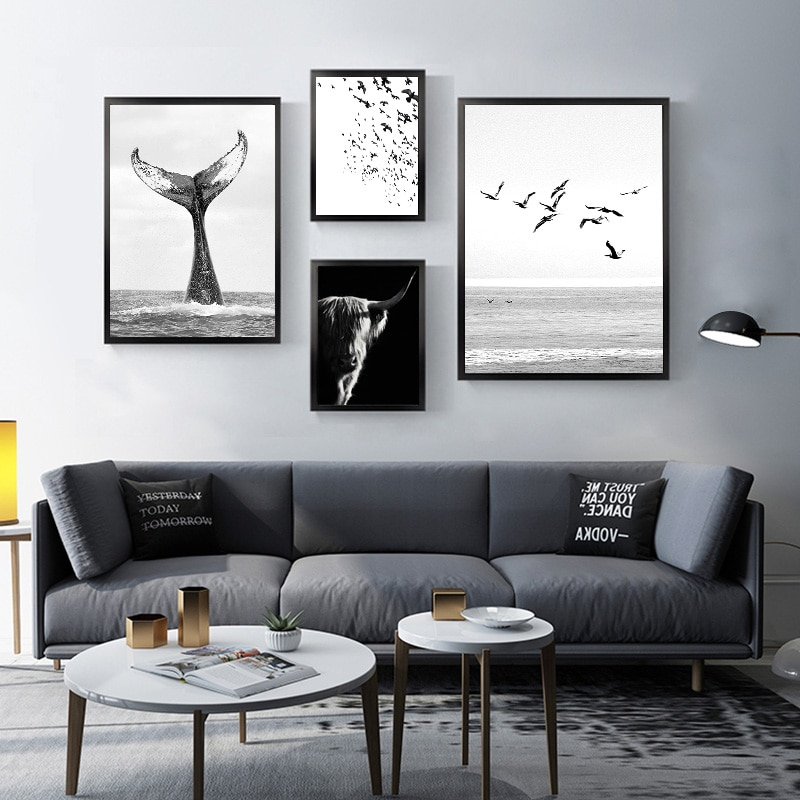 Póster de lona para decoración del Hogar, pinturas de animales del océano, cola de ballena, Pájaro de mar, escandinavo, blanco y negro, para pared y salón de belleza