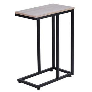 Simple Iron Sofa Accent Table Wood Grain MDF desktop and high quality powder coated steel of 4 adjustable pads