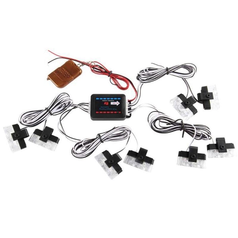 8X2LED 8 в 1 пульт дистанционного управления 12 в аварийный стробоскоп Предупреждение ющий светильник мигающий решетка светильник для автомоби...