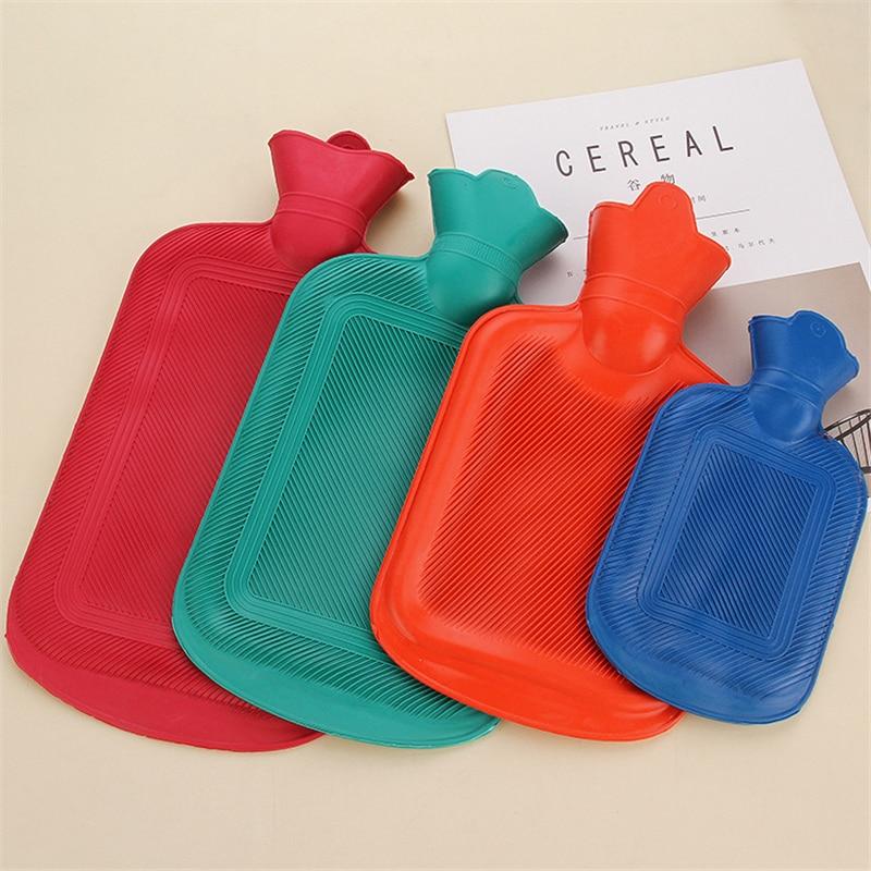 500 1000 1750 2000ML botellas de agua caliente gruesas invierno cálido para niñas mujeres alivio del dolor cama mano pies bolsa de agua caliente Color al azar