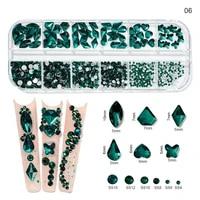 12gird box multi size abcolorful hotfix rhinestones flatback crystal diamond gems 3d glitter nail art luxurious decorations