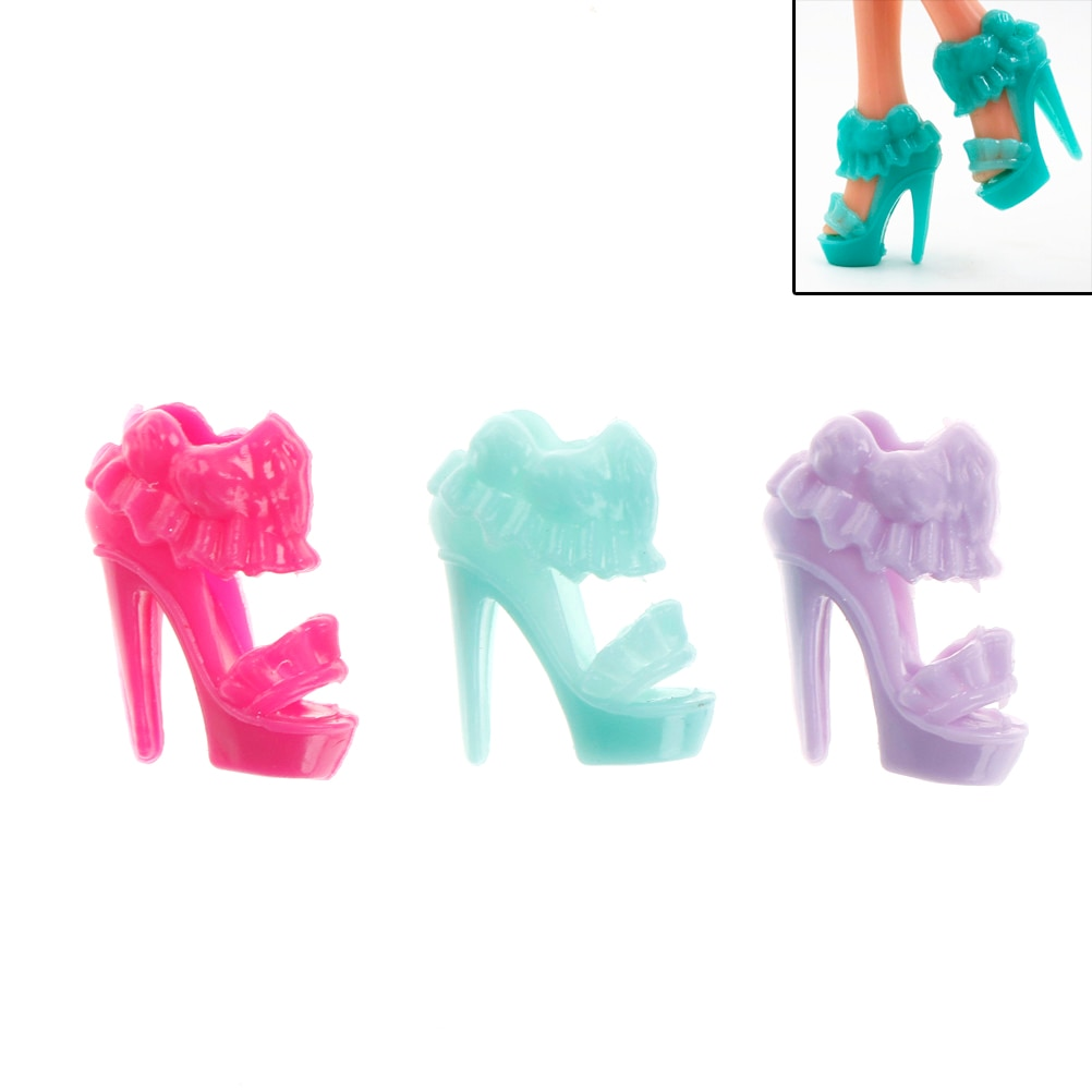 DIY 10 Fashion Pairs Doll Shoes High Heels Sandals Accessories Shoes For  Doll Girls Baby Toy Gift