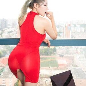 Women Sexy Open Crotch Bodysuit with Skirt 2021 New Teacher Secretary Uniform Set High Elastic Back Zipper Skinny Rompe Female