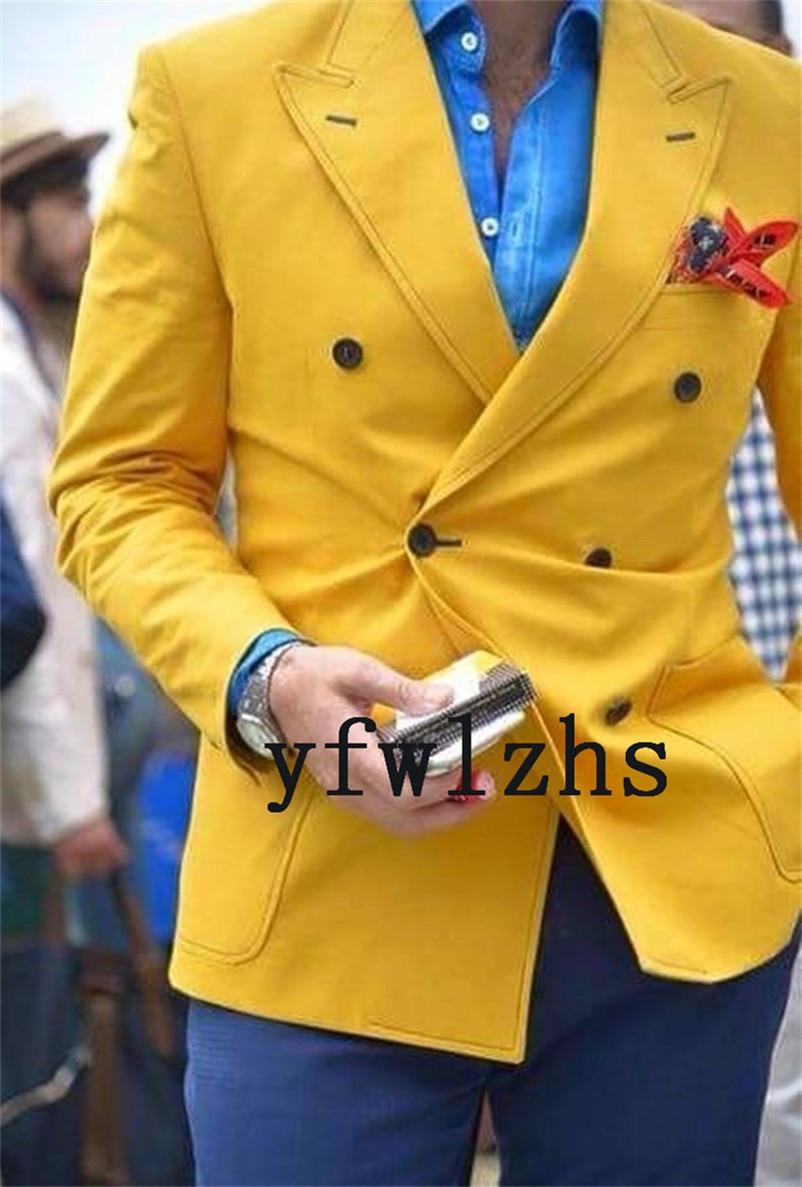 Handsome Double-Breasted Groomsmen Peak Lapel Groom Tuxedos  Men Suits Wedding/Prom/Dinner Best Blazer(Jacket+Pants+Tie) 107
