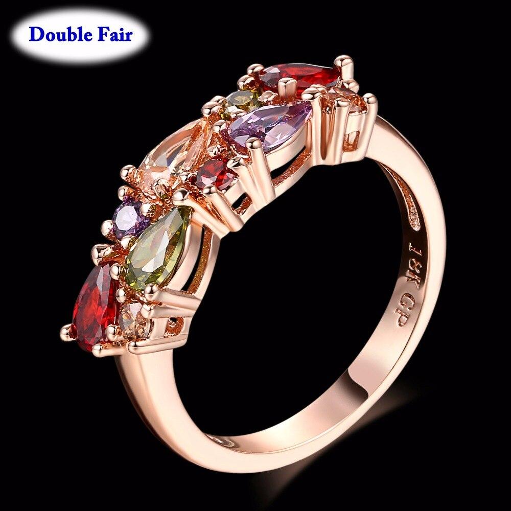 Cubic Zirkon Ringe Rose Gold Farbe Ring Mona Lisa Inlay Multicolor Kristall Mode Party Schmuck Für Frauen Anel DWR484 Ringe    -