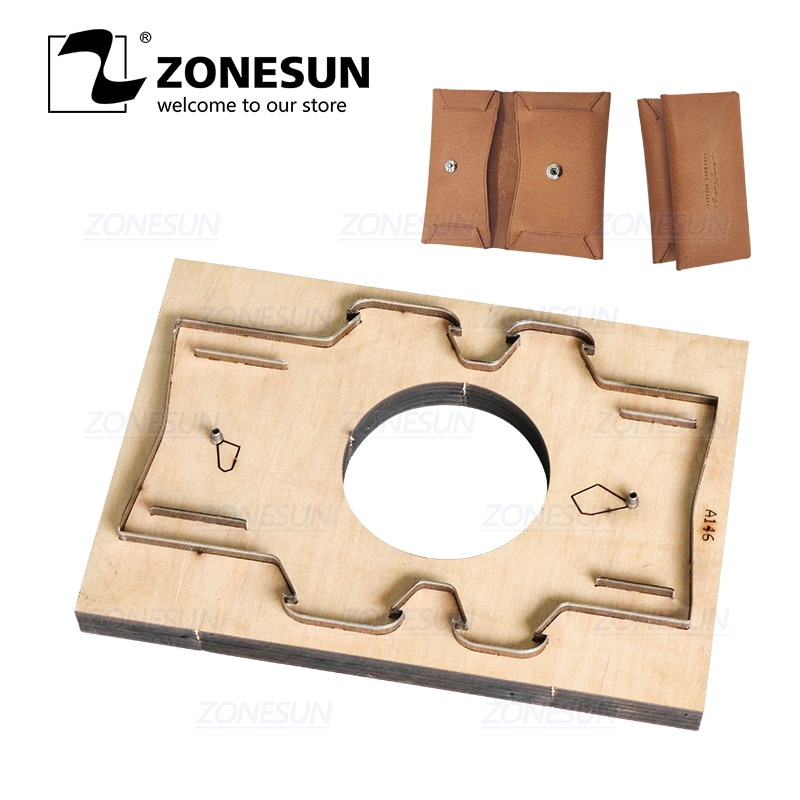 Zonesun d7 personalizado corte de couro morrer ferramenta de artesanato moeda bolsa de perfuração cortador molde de papel diy laser morrer cortes
