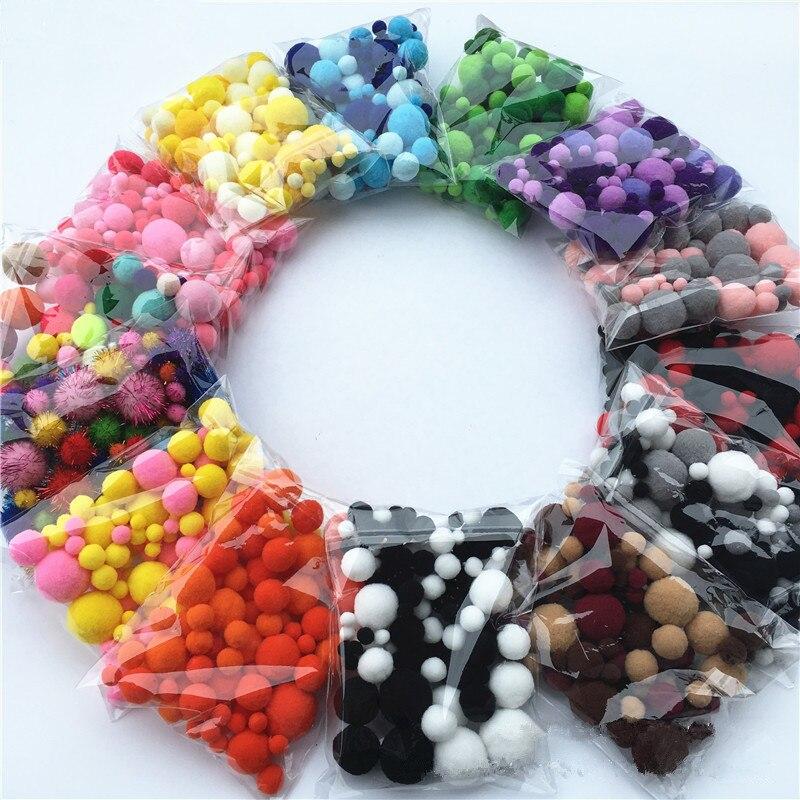 Pompón de colores multicolor para decoración, varios tamaños, 8mm-30mm, 20g