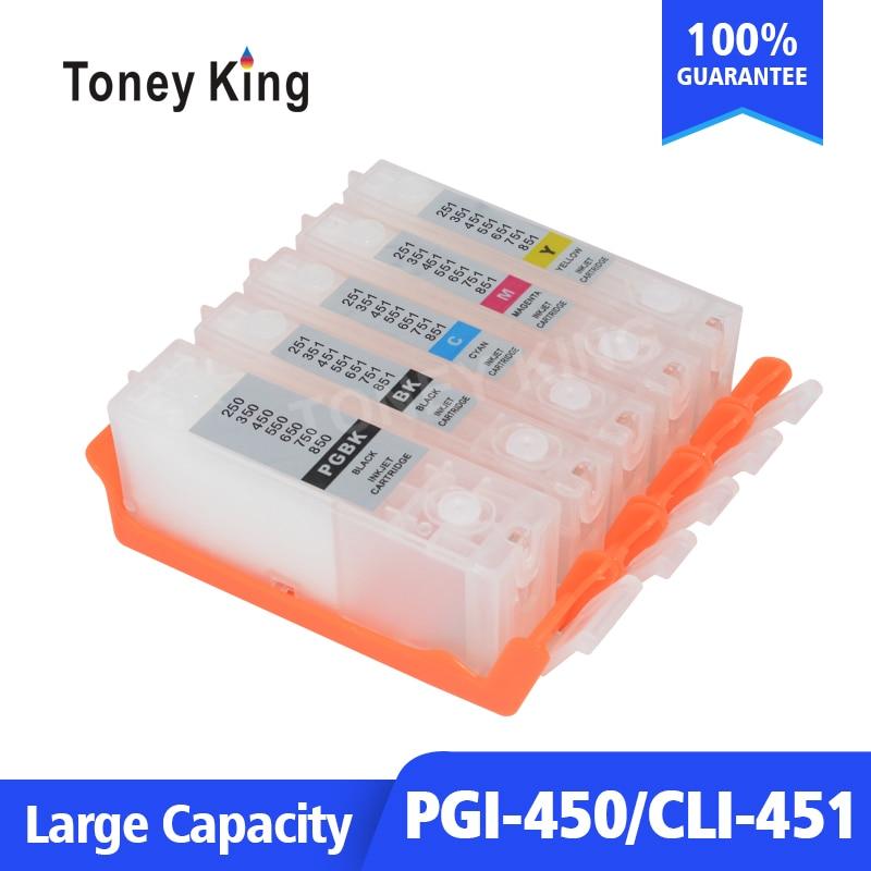 Toney Rei Recarregáveis Cartucho de tinta Para Canon PGI 450 CLI 451 Cartucho De Tinta Para PIXMA MG5440 MG5540 MG5640 MG6340 MG6440 Impressora