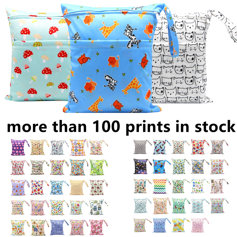 Asenappy Reusable Waterproof Fashion Prints Wet Dry Diaper Bag Double Pocket Cloth Handle Wetbags 30*36CM Wholesale