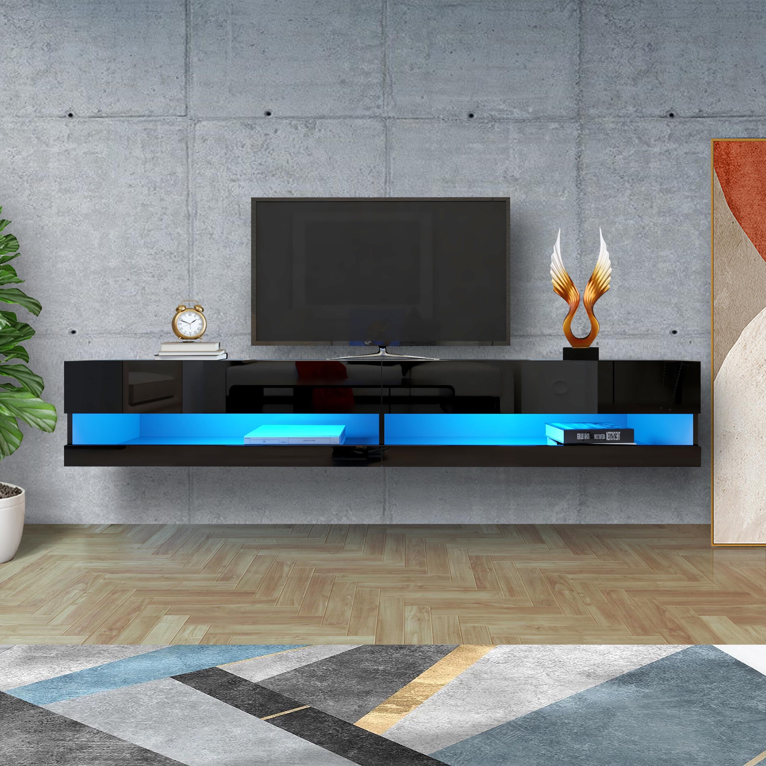 حامل تلفاز LED خزانة تلفاز 180 مثبت على الحائط حامل تلفاز 80 بوصة مع 20 مصابيح ليد ملونة أبيض