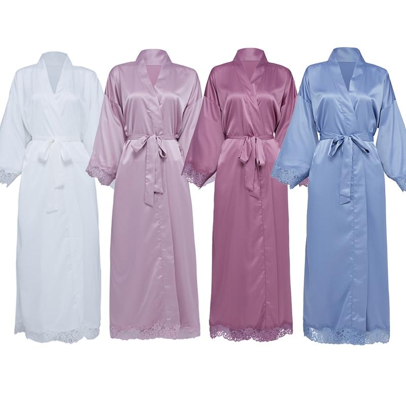 Женские Длинные матовые атласные кружевные халаты, свадебное кимоно, свадебные халаты, Свадебный халат, одежда для сна