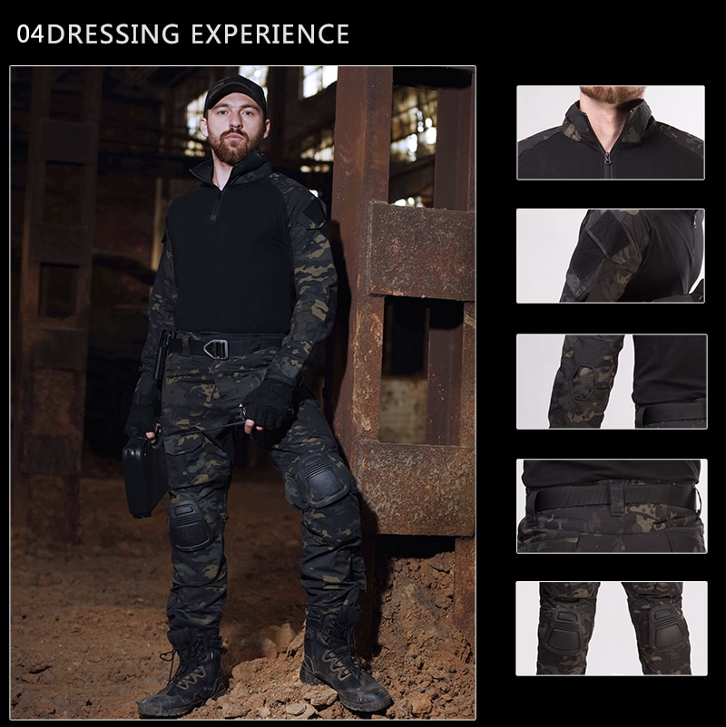 Outdoor Army Suit Airsoft Paintball Clothing Tactical Shirt Military Clothes Uniform Suits Camo Hunting Shirt/Pants Knee Pads