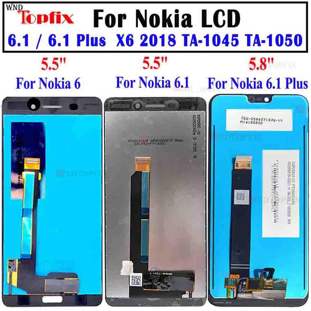 محول رقمي لشاشة تعمل باللمس لهاتف Nokia6 Nokia 6.1 LCD X6 2018 TA-1045 TA-1050 For Nokia 6.1 Plus استبدال شاشة LCD